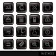 Glossy Black Icons Set