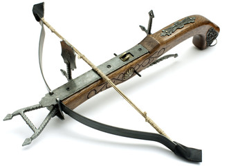 old wood crossbow isolated in white background