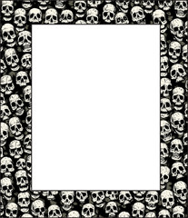 Wall of skulls, with sheet in front for images or poster.