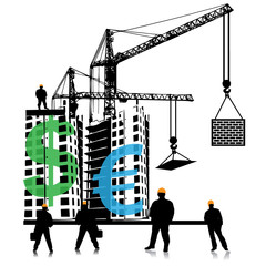 Investment of money in building.Vector