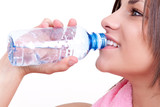 thirsty woman drinking water poster