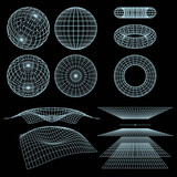 Fototapety Geometry, Mathematics and Perspective wireframe symbols. Vector