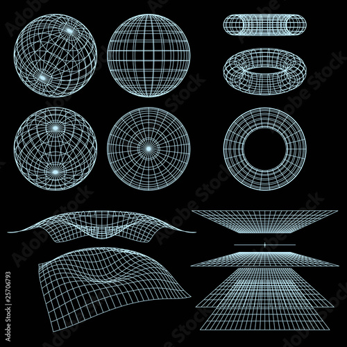 Geometry, Mathematics and Perspective wireframe symbols. Vector