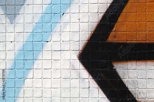 poster of flèche dessinée sur fond mosaique