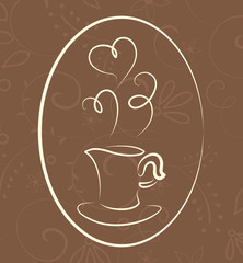 Coffee symbol on floral background. Vector illustration
