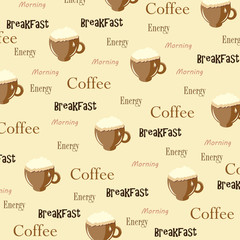 Seamless wallpaper with cup and text