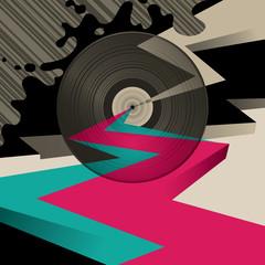 Designed artistic background with vinyl.
