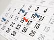 Leinwanddruck Bild - Closeup calendar page with drawing-pins