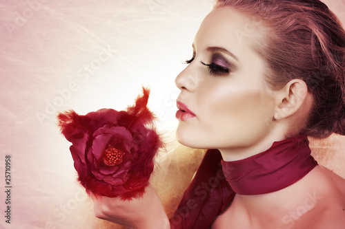 beautiful woman with rose.