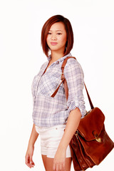 Cute asian girl with brown leather document bag
