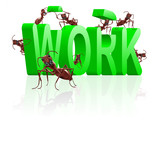 work ants working on career teamwork cooperation poster