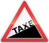 Panneau de danger augmentation de taxe (reflet métal) poster