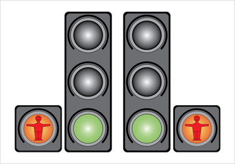 Traffic light for people. Isolated on white background.