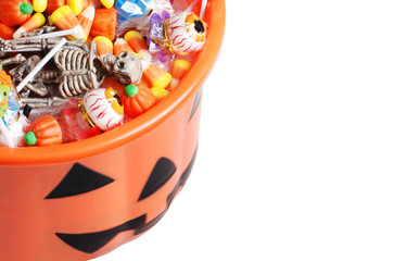 top view halloween pumpkin pail with candy