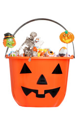 halloween pumpkin pail filled with candy