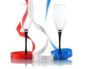 colored streamers and two empty glasses