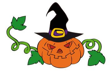Halloween pumpkin with witch hat.