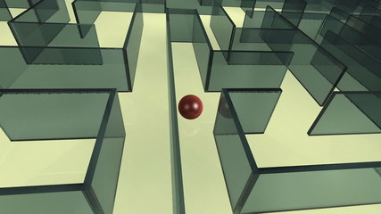 Red ball rolls through big maze