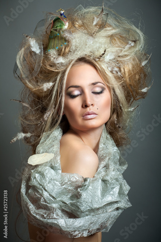 Relaxing of woman with hairstyle.
