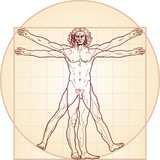 «Homo vitruviano». So-called The Vitruvian man a.k.a. Leonardo's man. Detailed drawing on the basis of artwork by Leonardo da Vinci, executed him c. 1490 (in 1487 or 1490 or 1492).