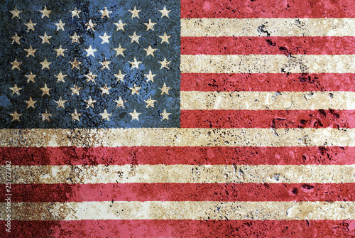 Flag of the USA painted on marble