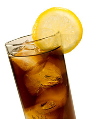 Glass of Cola with Ice and Lemon Isolated on White Background