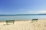 lake Michigan beach with benches poster