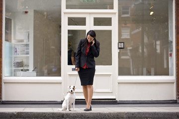 A businesswoman and her dog waiting to cross the road