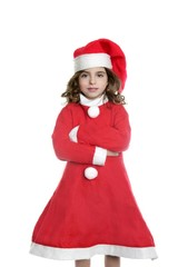 Brunette little girl Santa costume