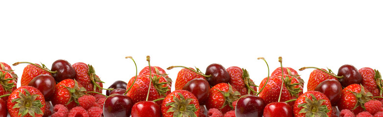 Border of ripe red berries