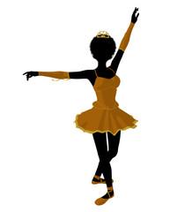 African American Ballerina Illustration Silhouette