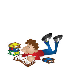 Cartoon boy studying isolated with copy space