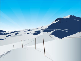 skiing in the moutains