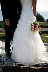 wedding dress and tuxedo, flowers