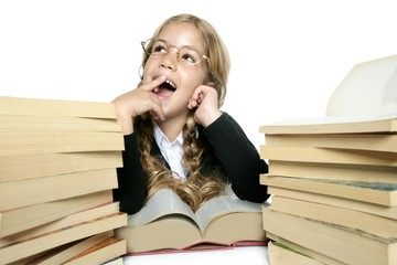 little blond student girl  smiling  with a lots of books