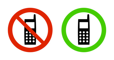 Pictogram - Prohibition red signs (Telephone B-type)