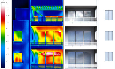 Apartment building thermal imaging half