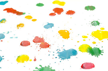 Multicolored drops of paint