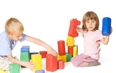 Children play with blocks