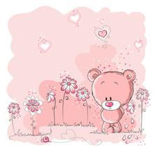 Różowy ładny miś trzyma kwiat