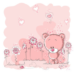 Pink cute bear holding a flower © adrijanavs