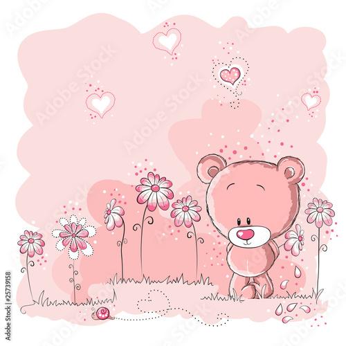 Pink cute ponosi gospodarstwa kwiat