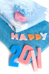 "a towel and soap-letters ""happy 2011"""