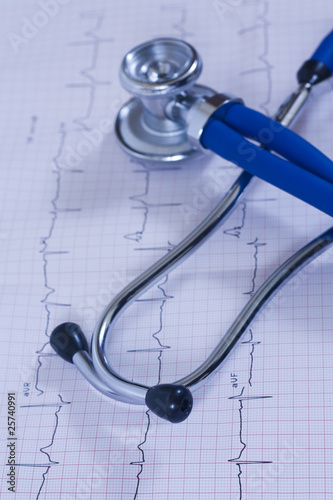 medical heart test with stethoscope