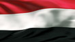 Creased Yemen satin flag in wind with seams and wrinkle