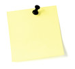 Yellow To-Do List And Black Pushpin Thumbtack Isolated