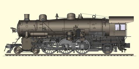 Vector illustration of old locomotive