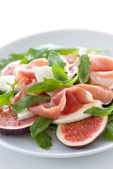 italian dry cured ham with rocket, figs and mozzarella