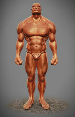 muscle man figure front view
