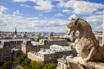 Notre Dame: Chimera (dragon) overlooking the skyline of Paris